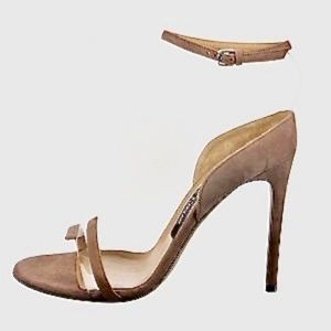 Sergio Rossi Brown Suede PVC Illusion Sandals US8 New